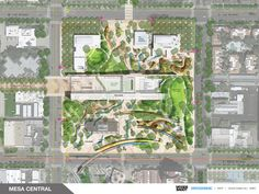 Final Design Concepts Unveiled for Arizona's Mesa City Center,Rendered Master Plan. Design by Woods Bagot + Surface Design. Image Courtesy of Woods Bagot + Surface Design Landscape Concept, Landscape Architecture Design, Landscape Plans, Space Architecture, Site Development Plan, Plaza Design, Plan Drawing, Parking Design, Landscape Drawings