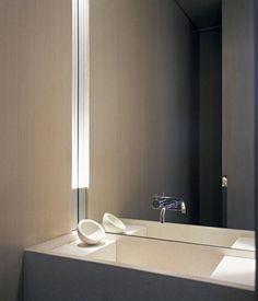 Modern Powder Room with Powder room, Limestone counters, Undermount sink