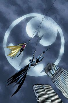 Batman and Robin cross the night sky and the bat signal. Great underneath perspective.