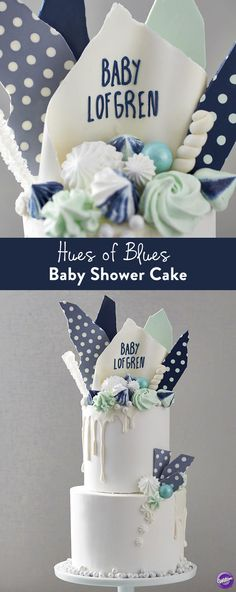 How to Make a Baby Shower Cake - It's a boy! Celebrate the newest addition to your family with this Hues of Blues New Baby Cake. Great for serving a crowd, this two-tier cake is decorated with candy bark, meringue cookies, candies and more.