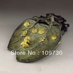 Chinese Bronze brush washer Statue - Frog