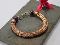 Viking knit bracelet  Double knit Bronze wire and by Abbyjewellery