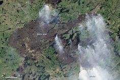 Since mid-June, numerous fires ignited by lightning have burned in western Quebec. The Operational Land Imager (OLI) on Landsat 8 acquired this image showing the expansion of one large fire on July 8. Areas charred by the fire appear dark brown. Forested areas are green.
