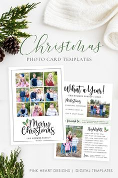 "Everybody loves getting Christmas cards in the mail so use this 5x7 photo template to quickly create this year's card! The Christmas template is instantly available after purchase! The back can be a ""Year in Review"" or just photos!   #photochristmasccards #christmascards #christmastemplate #christmascard #christmascardtemplates #photochristmascard #holidaycard #holidayphotocard #christmasprintable Christmas Card Template, Printable Christmas Cards, Christmas Photo Cards, Holiday Cards, Heart Designs, Photoshop Elements, Family Pictures, Card Templates, Etsy Shop"