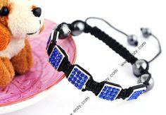 Dark Blue Cubic Nylon Crystal Hematite Bracelets Jewelry Gift