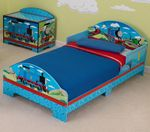 Thomas & Friends Toddler Bed-Adorable Thomas & Friends artwork on KidKraft's newest licensed product line! Perfect for your little one who is transitioning from crib to bed. Our toddler cot accomodates a crib size mattress. Coordinates with a tab
