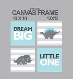 Canvas prints for nursery-dinosaur-Dream big little one nursery canvas set of 4 - 1-1/4'' deep frame- ready to hang
