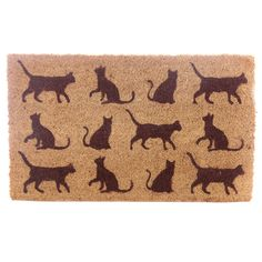 Coir Door Mat - Cats Every home needs a door mat so check out our collection of coir door mats. Made from robust natural coir fibre with a durab Silhouette Chat, Black Cat Silhouette, Online Gift Store, Doors And Floors, Cat Themed Gifts, Coir Doormat, China Mugs, Cat Lover Gifts, Cat Lovers