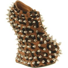 Jeffrey Campbell Shadow spike red nubuck silver stud ($225) ❤ liked on Polyvore