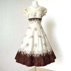 vintage 1950's dress ...beautiful BRENDA ORIGINAL irish linen embroidered princess seams full gored skirt shelf-bust pin-up party dress. $210.00, via Etsy.