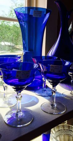 Cobalt blue pitcher with glasses