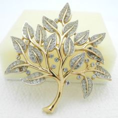 VTG-RARE-1950-039-s-CROWN-TRIFARI-Signed-Clear-Rhinestone-Tree-Brooch