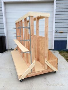 Ana White | Build a Ultimate Lumber and Plywood Storage Cart | Free and Easy DIY…