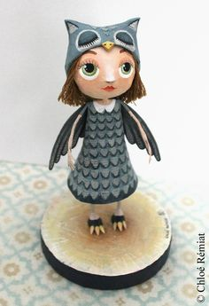 PETITE FILLE HIBOU {Little Owl Girl} - Cute paper mache characters