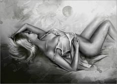 Schlafende Venus - Weiblicher Akt schwarz weiß Verkauft / sold als Leinwandbild  80 x 60 cm. Vielen Dank an den Kunden, ich wünsche Ihnen viel Freude an dem Kunstdruck. Viele Grüße, Marita