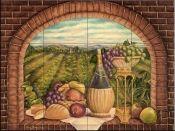 Ceramic Tile Mural - Tuscan Wine II - by Rita Broughton - Kitchen backsplash/Bathroom Shower Tuscan Design, Tuscan Style, Decorative Tile Backsplash, Wall Tile, Bathroom Wall, Tile Art, Mosaic Tiles, Tuscany Kitchen, Decoupage