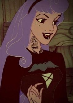 Oh my god Halloween I could die my hair purple Emo Disney, Disney Punk Edits, Walt Disney, Aurora Disney, Disney Stuff, Hipster Princess, Punk Princess, Princess Aurora, Goth Disney Princesses