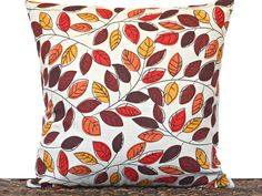 Autumn Leaves Pillow Cover Cushion Fall Modern Red Orange Brown Mustard Beige…