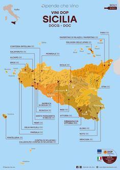 Tutti i vini DOP (DOCG e DOC) della Sicilia, localizzati sulla carta regionale.   Al link le informazioni sulle tipologie e sugli uvaggi.  Italian Wine Region Sicily. Siracusa Sicily, Wine Jokes, Wine Facts, Wine News, Wine Guide, Italy Map, Italian Wine, Sparkling Wine, Wine And Spirits