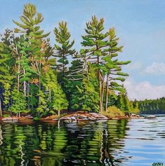 Acrylic on Gallery canvas Silent Lake Provincial Park Landscape Quilts, Landscape Paintings, Acrylic Canvas, Watercolor Artists, Tuscany, Reflection, Park, Gallery, Wallis