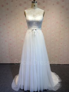 Chic White Lace Aline High Neckline Sweep Train by SpcialDresses, $267.99