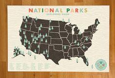 National Parks Checklist Map Print - 11x17 print