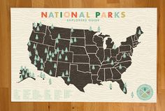 National Parks Checklist Map Print - 11x17 print