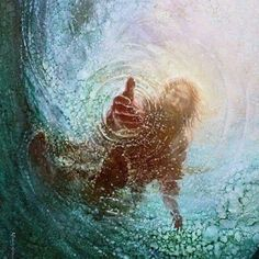 I love this picture of the Savior from Peter's perspective. Often times we lose our faith in Christ and begin to sink in desperation. We must never ever forget that we have never sunken too far from our Savior's grasp of redeeming love. He is always reaching for us even when we aren't reaching for Him. | Save Me by Yongsung Kim