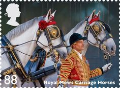 The Royal Mail has issued a set of stamps which celebrates the contribution horses still make to working life in Britain today including Royal Mews carriage horses on this 88p stamp