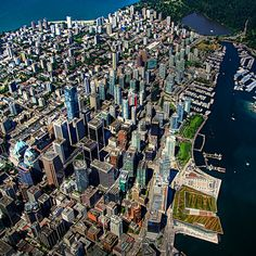 Aerial view of Downtown Vancouver Photo by ecstaticist. Learn to travel, travel to learn: Robin Esrock TEDx Vancouver Robin Esrock's success as a global adventurer, travel writer, TV producer and international TV personality … Vancouver Bc Canada, Vancouver British Columbia, Downtown Vancouver, Vancouver Island, Vancouver Photos, Vancouver Skyline, Visit Vancouver, Vancouver Travel, Sunshine Coast