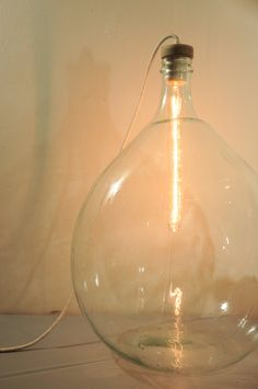 Floor lamp  vintage glass lamp  demijohn bottle  handblown