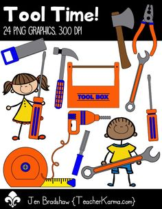Tool Time! clipart.  Included: hammer, tape measure, pliers, hammer, saw, tool box, wrench, screwdriver, electric screwdriver... and MORE!  These graphics are perfect for classroom materials and educational products that you sell on Teachers Pay Teachers or other sell sites.  Commercial and personal use is ok.  TeacherKarma.com
