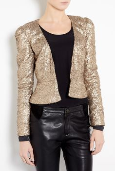 Dakota Fitted Gold Sequin Jacket by PROJECT\D LONDON