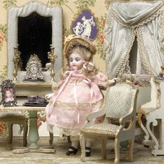 Rare Simon & Halbig all bisque doll in a luxury Louis Badeuille made room, Paris, 1880s.