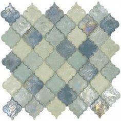 Heavenly Lagoon Blue Glossy & Iridescent Glass Tile