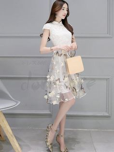 Shop Chinese Cap Sleeve Stand Collar Butterfly Knee Length Day Dress on sale at Tidestore with trendy design and good price. Come and find more fashion Knee Length Day Dresses here. Asian Fashion, Trendy Fashion, Kids Fashion, Fashion Design, Day Dresses, Dresses For Sale, Cute Dresses, Korean Outfits, Dress Patterns