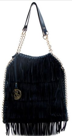 Navy Fringes And Chain Trim Decorated Fashion Handbag