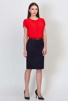 Тёмно-синяя юбка-карандаш Emka Fashion 556-valentina