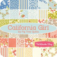 California Girl Jelly Roll Fig Tree Quilts for Moda Fabrics - Fat Quarter Shop. Patterns for her room.