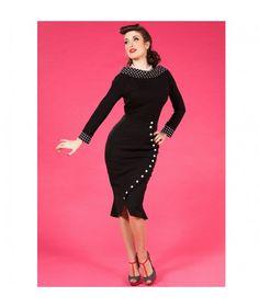 Mackenzie Skirt, Black Polka Buttons