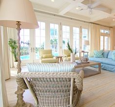 Pastel Beach Home in Blue, Yellow & Seafoam - Completely Coastal…