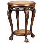 Ambella Home Collection - Leather & Swag Accent Table - 05099-900-001  SPECIAL PRICE: $630.00
