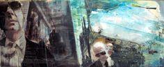 """OLIVIERO PAGLIAROLI """"Wall Street """" - 2007 Tecnica mista su tavola, 55x150 cm"""
