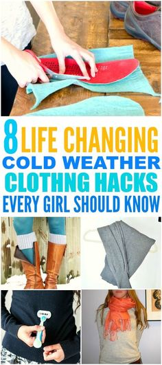 These 8 Incredible Cold Weather Clothing Hack are THE BEST! I'm so glad I found these GREAT tips! Now I have some cute way to keep warm! Definitely pinning for later!