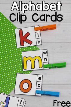 Are you looking for a hands-on letter recognition activity? These Alphabet Clip Cards are a fun way for pre-readers to practice identifying and matching letters. These interactive clip cards are perfect for developing letter knowledge and fine motor skills. Matching letters is great for visual discrimination too! There are 3 different sets to easily differentiate and meet the needs of all learners. Click on the picture to get these free Letter Clip Cards! #letterrecognition #alphabetclipcards