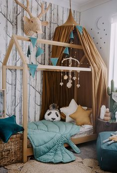 Parker& Enchanted Forest Inspired Toddler& Room is part of Woodland room Parker& Enchanted Forest Inspired Toddler& Room mustard and teal colours, birch wallpaper, natural elements, cane, ratta - Baby Bedroom, Baby Boy Rooms, Nursery Room, Nursery Decor, Room Baby, Nursery Design, Woodland Room, Kids Decor, Home Decor