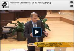 History of Ordination, Part 1 & Part 2 from Sligo Adventist Church, Maryland with Dr. Darius Jankiewicz... fascinating and with surprises!  Dr. Jankiewicz traces the history of ordination from the Early Christian Church through to modern times.  Find Part 2 at http://livestre.am/43aYj