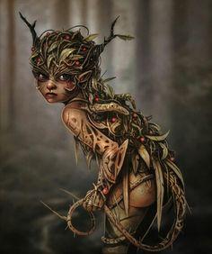 "Elves Faeries Gnomes: ""A Bramble Pixie,"" by Sally Jackson. Elfen Tattoo, Elfen Fantasy, Elves And Fairies, Dark Fairies, Fantasy Kunst, Wow Art, Mythological Creatures, Magical Creatures, Forest Creatures"