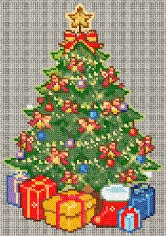 Decorated Christmas tree with presents cross-stitch complete of Cross Stitch Tree, Counted Cross Stitch Patterns, Cross Stitch Charts, Cross Stitch Embroidery, Christmas Tree With Presents, Noel Christmas, Plastic Canvas Crafts, Le Point, Cross Stitching