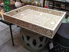 Bone Inlay Tray With Table MOP Inlay Tray Mother of Pearl Inlay Tray Bone Inlaid Tray